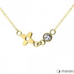 złoty naszyjnik z kwiatem i cyrkonią