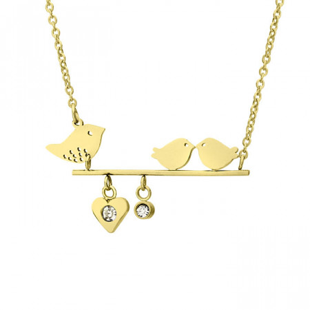 Złoty naszyjnik z motywem ptaków, cyrkonia
