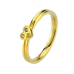 Złoty pierścionek z serduszkiem i cyrkoniami