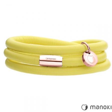 Żółta bransoletka damska skórzana