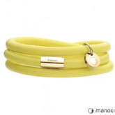 Żółta bransoletka damska ze skóry