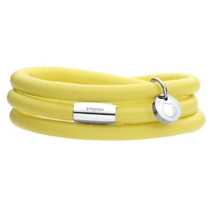 Żółta bransoletka damska ze skóry naturalnej
